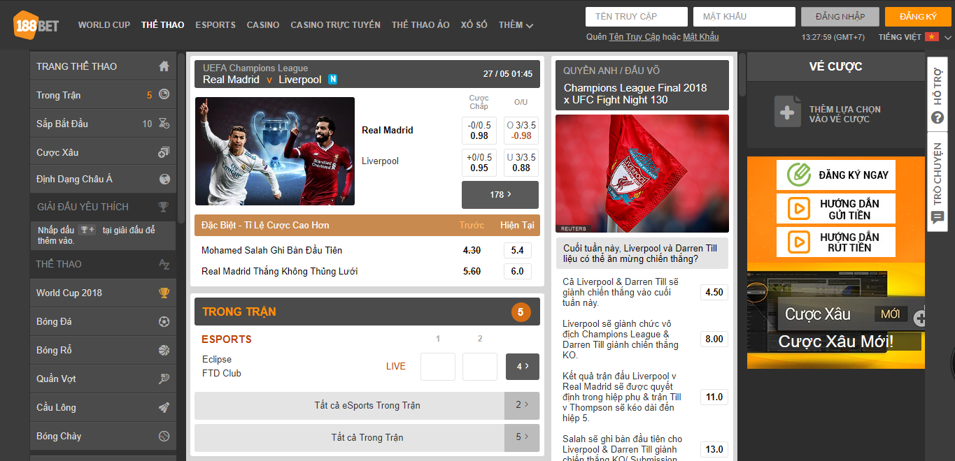 188Bet sports betting interface